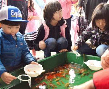 金魚すくいを楽しむ子どもたち