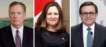 左から、米通商代表部のライトハイザー代表(ロイター=共同)、カナダのフリーランド外相、メキシコのグアハルド経済相(ロイター=共同)