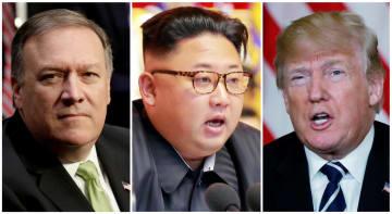 左からポンペオ米国務長官、金正恩朝鮮労働党委員長、トランプ米大統領(ロイター=共同)