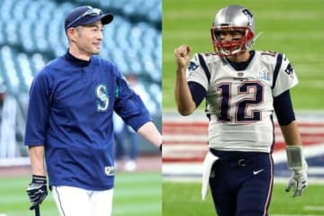 マリナーズ・イチロー(左)、NFLペイトリオッツのトム・ブレイディ【写真:Getty Images】