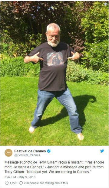 脳卒中から復活したテリー・ギリアム監督がカンヌへ! - 画像はカンヌ国際映画祭Twitterのスクリーンショット