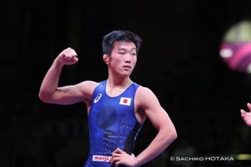 日本男子グレコローマン選手として15年ぶりにアジア王者に輝いた佐々木航(静岡・飛龍高)=撮影・保高幸子(UWWオフィシャルカメラマン)