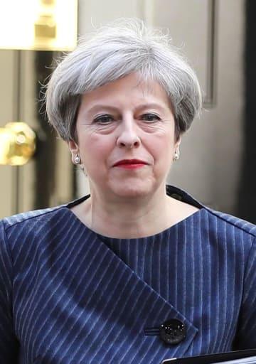 英国のメイ首相(ゲッティ=共同)