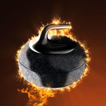 curling stone in fire
