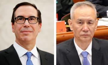 ムニューシン米財務長官(ロイター=共同)、中国の劉鶴副首相