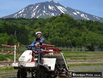 好天の下、田植え機を使い「まっしぐら」を植える吉さん