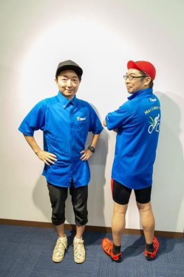Y'sRoadのユニフォームに身を包む伊藤健太郎さん(右)とパーソナリティの野島裕史