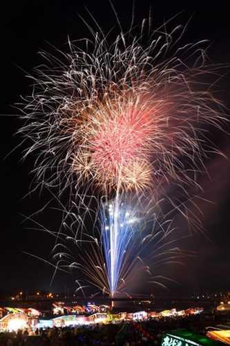 鹿沼の夜空を彩った色とりどりの花火=26日午後7時50分、鹿沼市朝日町