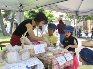 マルシェに出店したパン屋で、サンドイッチ作りに挑戦する子どもたち =藤沢市南藤沢の東奥田公園