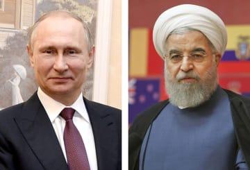 ロシアのプーチン大統領、イランのロウハニ大統領(AP=共同)