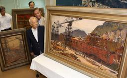 IHI相生事業所の倉庫で保管されていた新船建造の風景画=相生市相生(撮影・小林良多)