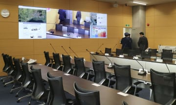 宮城県石巻市に開設された「石巻市防災センター」で、災害時に対策本部となる部屋=31日午前
