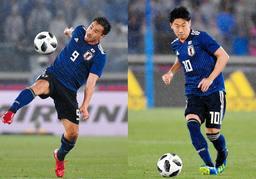 岡崎慎司選手(左)と香川真司選手=5月30日夜、横浜市の日産スタジアム