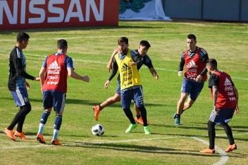 トレーニング中のメッシらアルゼンチン代表 photo/Getty Images
