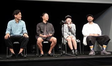イベント会場で会見する後藤氏、山野社長、akane氏、小松氏(左から)=1日、大阪市福島区の堂島リバーフォーラム