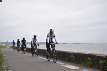 自転車専用道路を走る参加者たち=土浦市