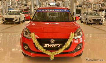 インドでの四輪車累計生産2000万台目となったグジャラート工場で生産したスイフト