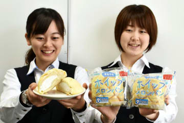 今月から定番商品として発売した「岩泉牛乳ホイップメロンパン」