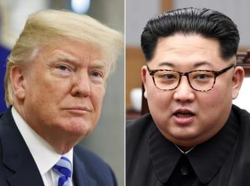 トランプ米大統領(左)と北朝鮮の金正恩朝鮮労働党委員長(AP=共同)