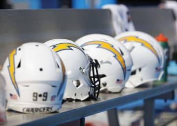 ロサンゼルス・チャージャーズのヘルメット【Greg Trott via AP】