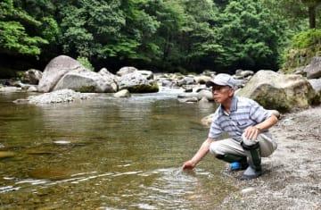 ヤマメの宝庫である川内川上流で川の状態を確かめる木野さん=えびの市大河平