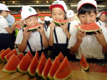 切り分けられた鳥取県産スイカをおいしそうに食べる児童たち=7日、大阪市福島区の市中央卸売市場
