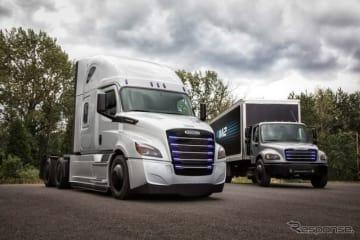 ダイムラーの新型EV大型トラック。左からフレートライナーeカスケーダ、フレートライナーeM2