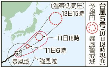 台風5号の予想進路(10日18時現在)