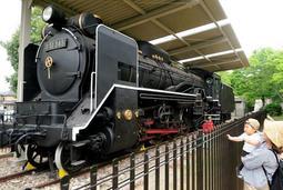 再塗装で重厚な雄姿を取り戻した蒸気機関車「D51」型=太子町鵤