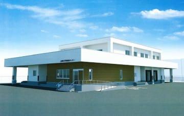山田中グラウンドに建設予定の学校給食センターの完成イメージ図
