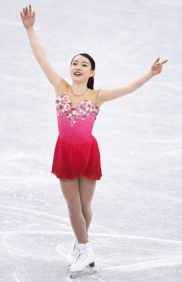 ジュニアグランプリ・ファイナルの女子フリーの演技を終えた紀平梨花=名古屋市ガイシプラザ