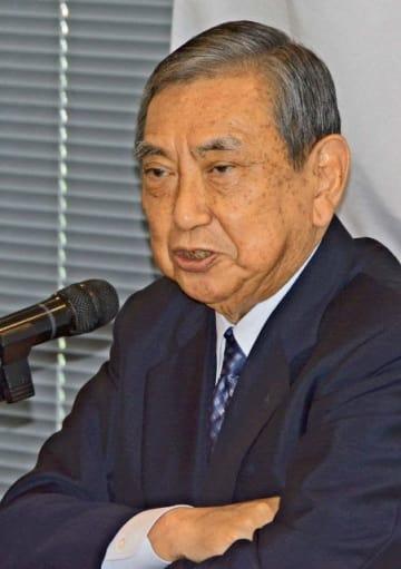 講演で北朝鮮による日本人拉致問題について語る河野洋平氏=都内