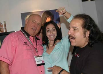 Dennis Hof (left) with Heidi Fleiss and Ron Jeremy at the 2006 Adult Video Network Convention in Las Vegas