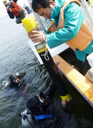 東京湾での底泥のサンプリングの様子(近畿大提供)