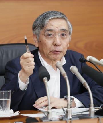 金融政策決定会合後に記者会見する日銀の黒田総裁=15日午後、日銀本店