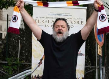 Russell Crowe Visits Roman Colosseum For Special Charity Screening Of 'Gladiator'