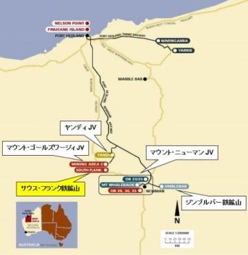 サウス・フランク鉄鉱山の地図。(画像:三井物産発表資料より)