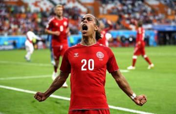 決勝ゴールを挙げたポウルセン。喜びのあまりゴール後に吠えた! photo/Getty Images