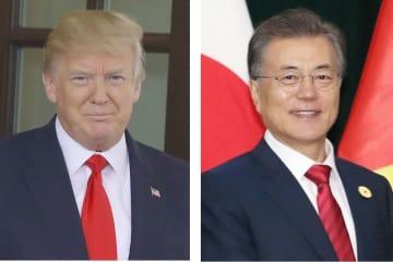 トランプ米大統領(ゲッティ=共同)、韓国の文在寅大統領(聯合=共同)