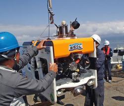 湖底遺跡の撮影に使用する水中ロボット「ほばりん」=海上技術安全研究所撮影