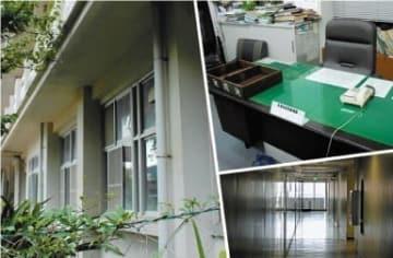 有罪となった元校長が勤めていた学校跡(左)、元県教委幹部の机(右上、写真は一部加工)、県教委が入る県庁別館の廊下(右下)