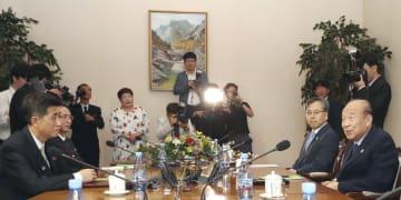 北朝鮮・金剛山で行われた南北赤十字会談=22日(聯合=共同)