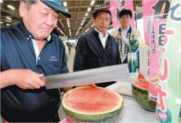 日田スイカを仲卸業者や青果店の買い手に振る舞ってPR=23日早朝、大分市豊海の市公設地方卸売市場