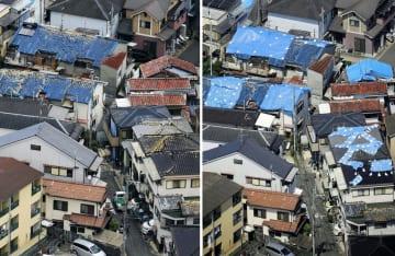 地震発生当日に屋根瓦が崩れ(左、18日)、ブルーシートが掛けられた大阪府高槻市の住宅=24日午後(共同通信社ヘリから)