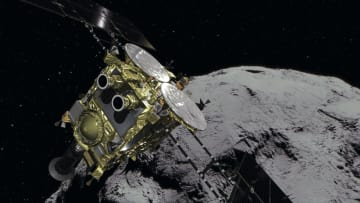 はやぶさ2と小惑星りゅうぐうのイメージ(JAXA提供)