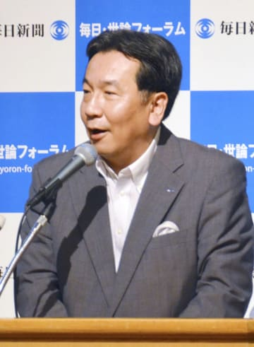 福岡市で講演する立憲民主党の枝野代表=25日午後