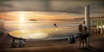瀬戸内海を背景に、イルカを見ることができるプールのイメージ図(四国水族館開発提供)