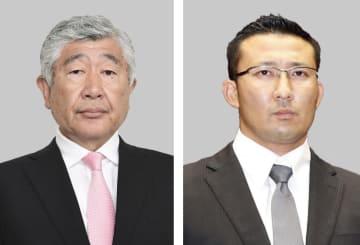 日本大アメリカンフットボール部の内田正人前監督(左)、井上奨前コーチ