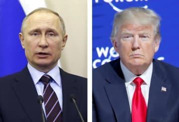 ロシアのプーチン大統領、トランプ米大統領(いずれもロイター=共同)