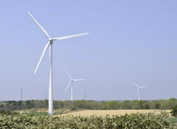 青森県内の風力発電施設は設備容量で10年連続全国1位となった=5月、六ケ所村